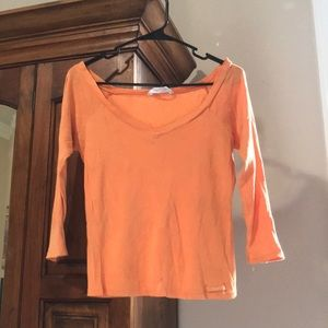 Orange wide V-Neck quarter sleeve top Y2K Aero
